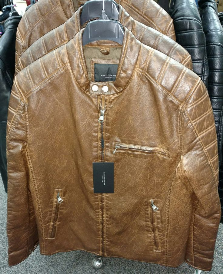 Grain finish faux leather jacket by Andrew Mark.  Also available in black.  Stop in and try one on!