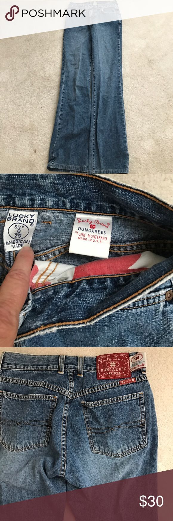 """Lucky Brand Dungarees jeans 0/25. Lucky Brand jeans Dungarees size 0/25. In nice ready to wear condition. All measurements are approximate: Waist  is 13"""". That is wear the most of wear is shown at waist. If you require more pictures- PLEASE ASK! Inseam is 30"""". Front rise is: 8 """".  Leg opening is: 8 1/2"""". Lucky Brand Pants"""