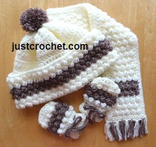 Free crochet pattern for bobble Hat, scarf & mitts http://www.justcrochet.com/hat-scarf-mitts-usa.html #justcrochet #freecrochetpatterns