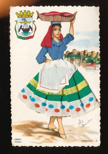 Fishwife Vendor Varina Lisboa Portugal 1960'S Silk Embroidered Postcard GGG127 | eBay