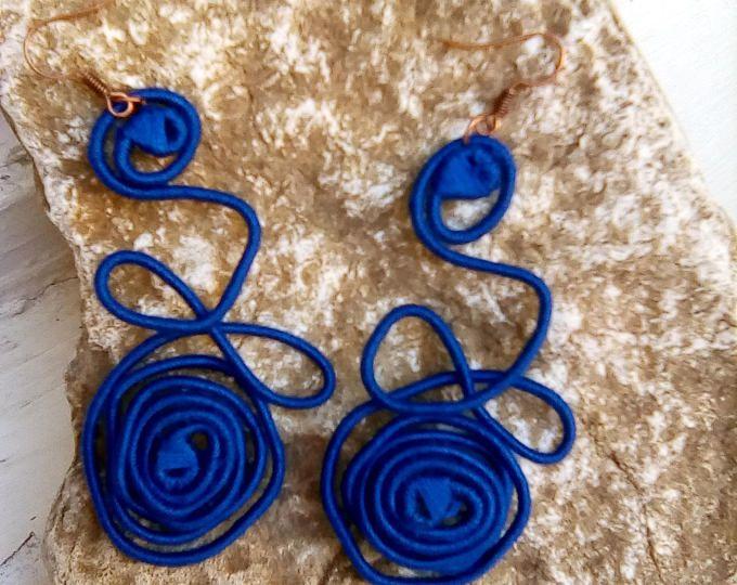 Blue Navy  yarn-wrapped earrings/ blue/ cotton yarns/ thread-wrapped/ handmade/
