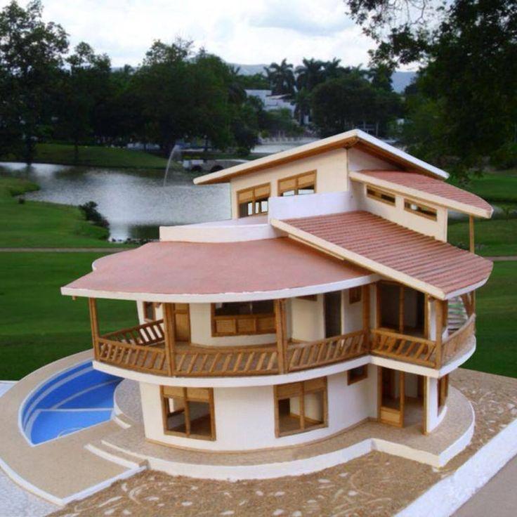 Modelo de casa en concreto y guadua casas pinterest for Modelos de techos metalicos para casas