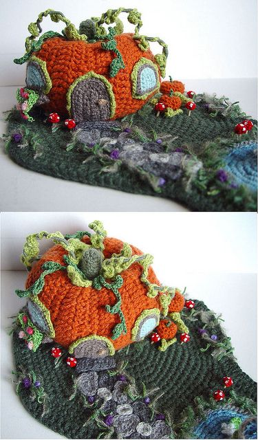 Crochet Pumpkin House 2 by meekssandygirl, via Flickr.   Now thats talent!..... Kerry: