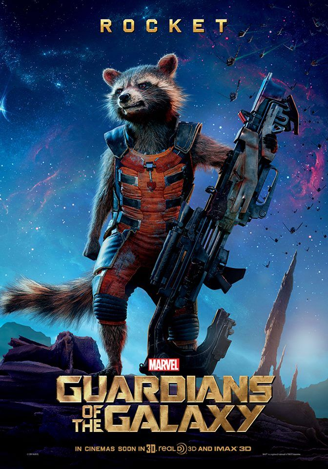 """Rocket's international character poster for Marvel's """"Guardians of the Galaxy"""" - I can't wait to see this!"""