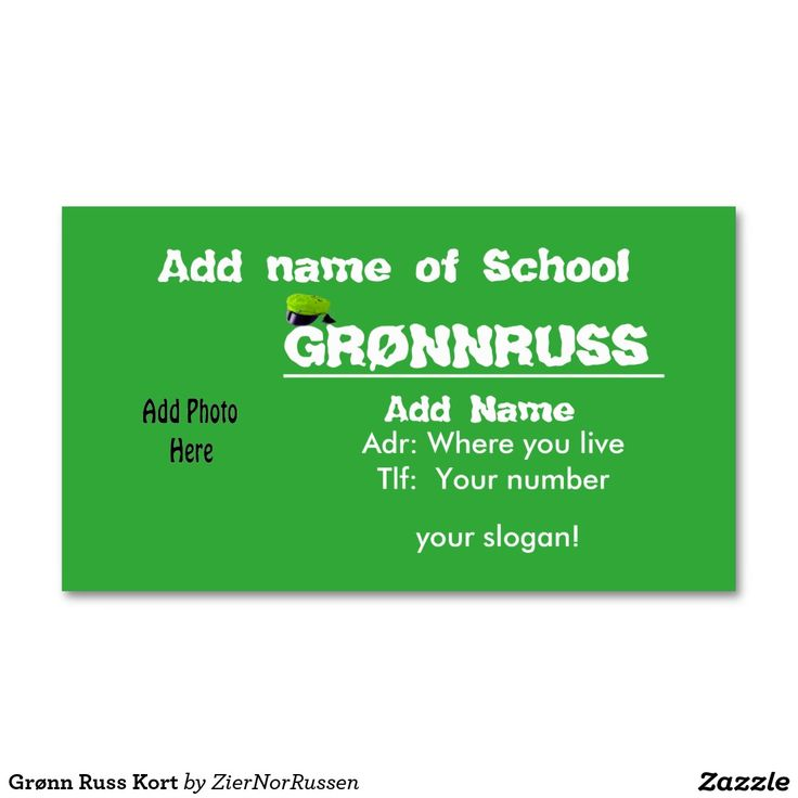 Grønn Russ Kort Double-Sided Standard Business Cards (Pack Of 100)