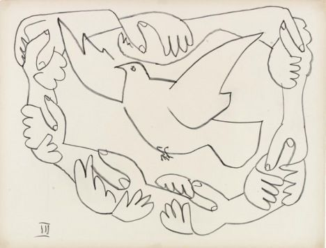 """Pablo Picasso, """"Hands Entwined III,"""" Courtesy Graphikmuseum Pablo Picasso Münster, Germany © Succession Picasso/DACS 2010."""