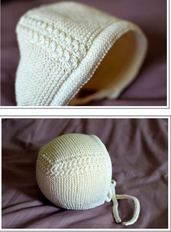 PDF Knitting Pattern-Baby Lovely Girls Charlotte style bonnet