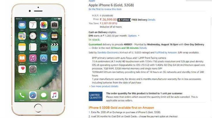 Apple iPhone 6 (32GB) Gold colour variant now available in India at Rs 26999 via Amazon India - The Indian Express #757Live