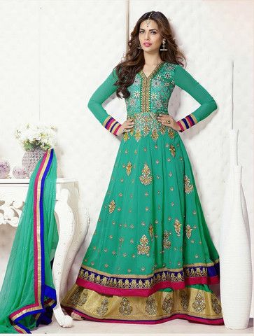 Esha Gupta In Gorgeous Designer Cyan Long Anarkali Suit | Veeshack Shop