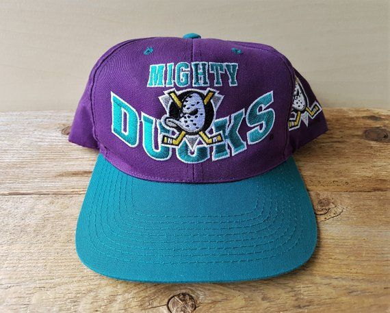 4983832c Vintage 90s Mighty DUCKS of Anaheim Snapback Hat Official NHL G Cap  Adjustable 2 Toned Disney Ice Hockey Team Block Letters Original Ballcap