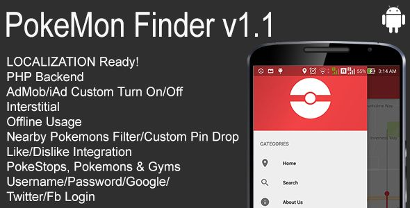PokeMon Finder Full Android Application v1.1 . This app reports sightings. Sightings can either be Pokemon, PokeStop or Gym. You can drop down pin to any places and search nearby Pokemons, PokeStops and Gyms. This will save you time traveling and looking for not-so-cool pokemon (Rattata, Voltorb, Pidgey,