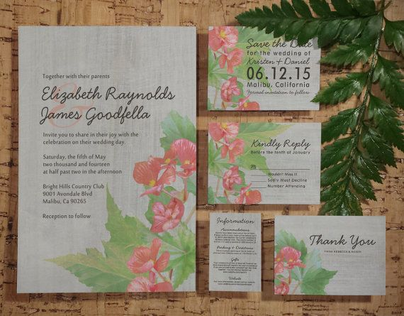 Vintage Begonia Wedding Invitation Set/Suite by InvitationSnob