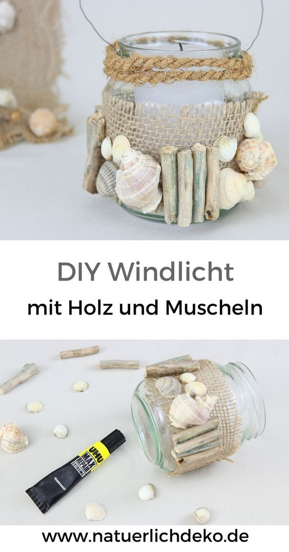 DIY windlight with wood and shells