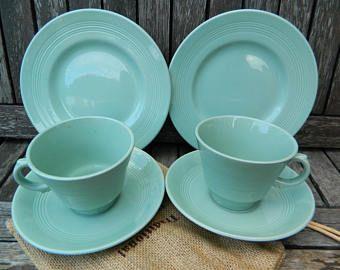 Beryl Ware Woods menta té verde taza, platillo, plato pan de té de lado Trio x 2