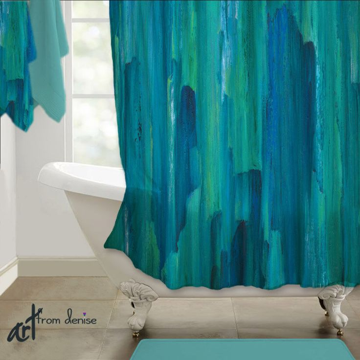 Teal turquoise, Shower curtain, Blue green, Abstract art, Contemporary modern, Designer bath decor, Upscale, Bathroom art, Home decor, Artsy by ArtFromDeniseDecor on Etsy https://www.etsy.com/listing/259224442/teal-turquoise-shower-curtain-blue-green