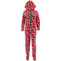Santa Cool Vibes Hooded Footed Pajamas for Women