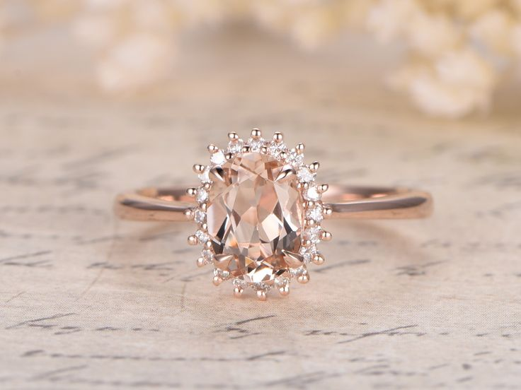 Princess Diana Ring,6x8mm Oval VS Pink Morganite Ring,14K Rose Gold Morganite Engagement Ring,Vintage Daisy Ring,Promise Ring,Floral Design