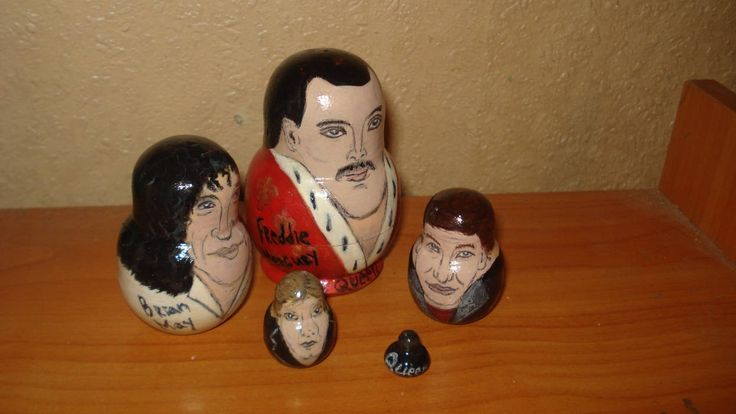 Set of 5pc hand painted wooden russian matryoshka nesting dolls QUEEN ROCK BAND by Matreshkas on Etsy
