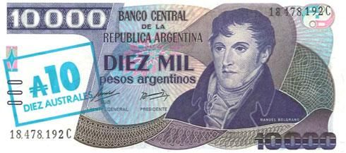 The Argentinian peso became worthless in 1985