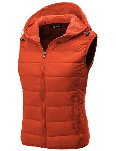 Thanth Womens Fitted Active Puffer Vest Jacket with Hoodie ORANGE Small THANTH