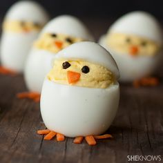 How to turn deviled eggs into adorable hatching chicks