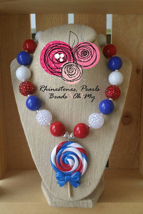 Lollipop Necklace, Patriotic Necklace, Fourth of July Necklace, Patriotic Jewelry, Gift for Girl, Girls Gift, Red White and Blue Necklace