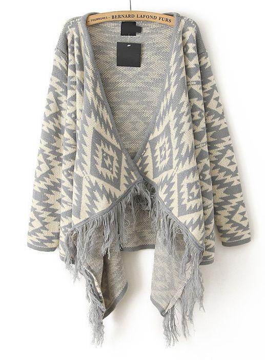 Grey Long Sleeve Tassel Geo Pattern Cardigan - Sheinside.com