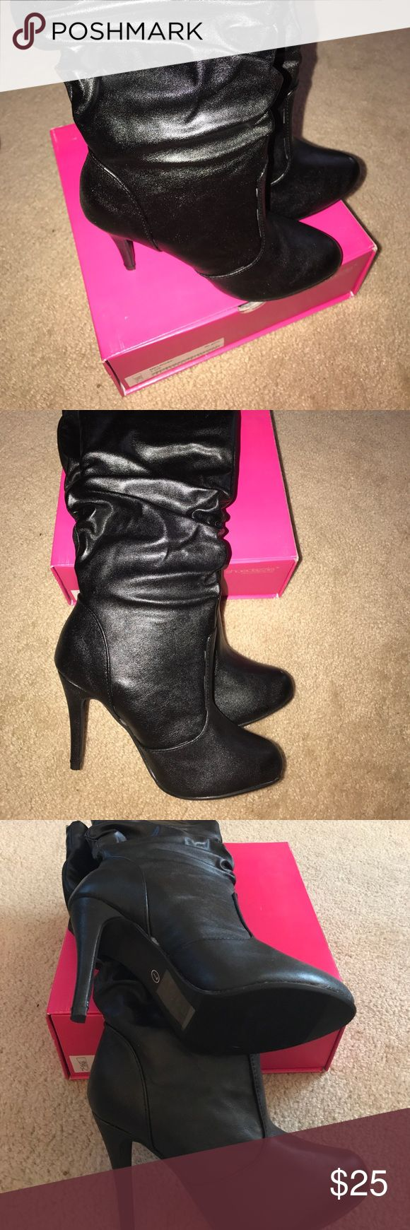 Melrose by Shoe Dazzle size 7 boots Melrose by Shoe Dazzle size 7 boots. Brand new and never worn. These boots will make a statement for a night out! Shoe Dazzle Shoes Heeled Boots