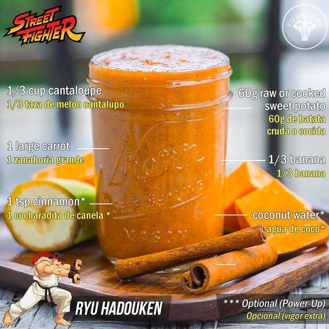 Finally! Day 5 of the 5-Day Smoothie Challenge, Street Fighter Edition, is a Ryu Orange Hadouken beta-carotene smoothie for cardiovascular health and disease immunity. One key ingredient is sweet potato. While it is not harmful to eat raw sweet potato, some studies suggest that cooked sweet potatoes are better since the raw form is more difficult for your body to digest. However, small amounts like this are generally ok. Tag someone in this FINAL challenge! Boom. (traduccion abajo) If you…