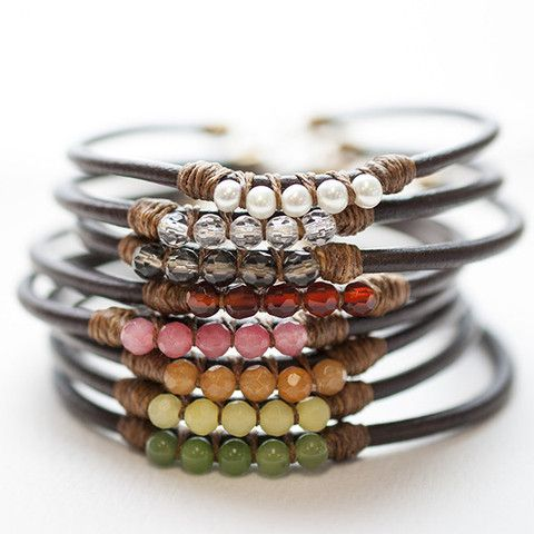 These lovely leather bracelets are made from handwork in our studio combining linen, leather and gemstones. Meant to be worn loose like a bangle bracelet, these gems are comfortable and casual for eve