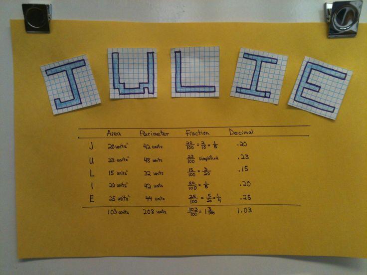 Area, perimeter, fraction and decimal practice