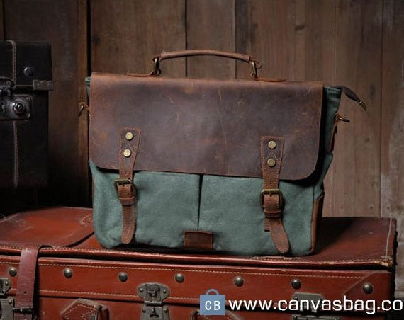 13″ Lake green Leather Canvas Bag Canvas Messenger Bag Student Canvas Bag Leisure Canvas Bags Canvas Tote with Leather Handles