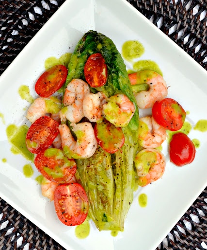 Grilled Romaine Hearts Tomatoes And Shrimp With Basil Vinaigrette.: Shrimp Salad, Basil Vinaigrette Jpg, Seafood Recipes, Salad Recipes, Grilled Romaine Hearts, Tomatoes Shrimp, Hearts Tomatoes, Healthy Recipes