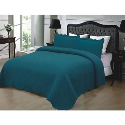California King 3-Piece 100% Cotton Quilted Bedspread w/ Shams in Turquoise