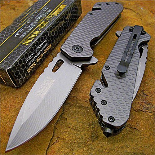 Tac-force Tactical Grey Titanium Blade Rescue Pocket Knife Pocket Knife
