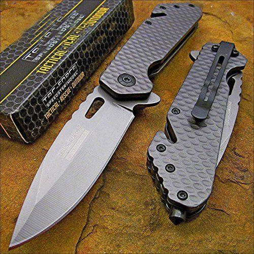 Tac-force Tactical Grey Titanium Blade Rescue Pocket Knife Pocket Knife