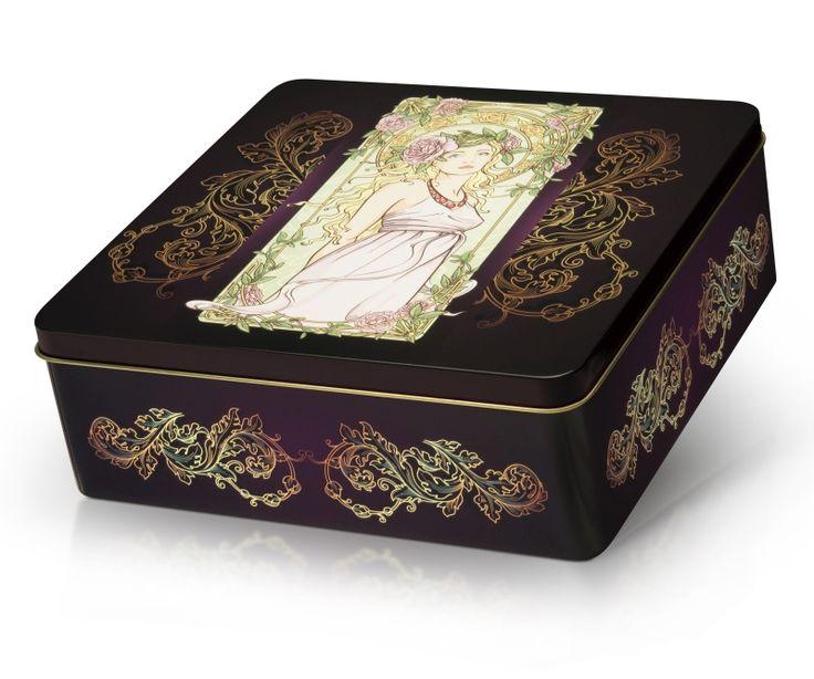 Plněné pralinky z belgické čokolády v luxusní plechové dóze se secesním motivem dívky a ornamenty. Originální dárek k výjimečným příležitostem.