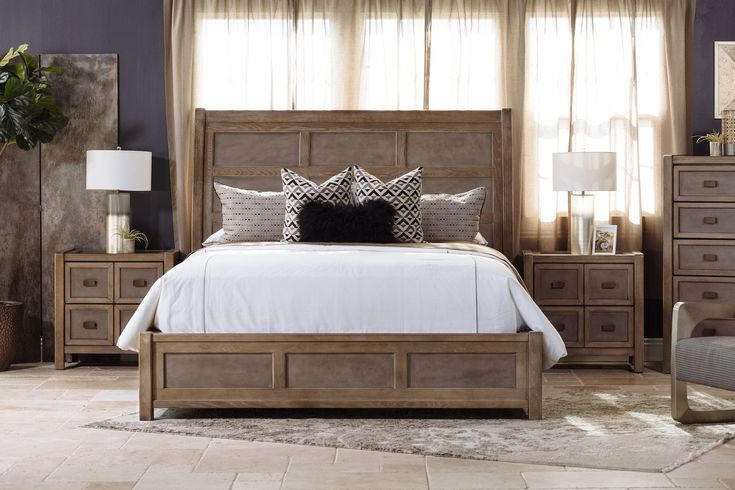 """66"""" Paneled Modern Sleigh Bed in Brown"""