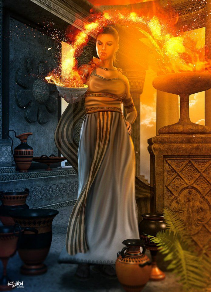 Hestia is the virgin goddess of the hearth, architecture, and the right ordering of domesticity, the family and the state. In Greek mythology she is a daughter of Cronus and Rhea. Her symbols are The hearth and its fire. A virgin goddess, she had no consort.