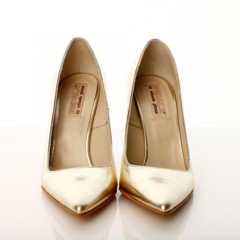 Pantofi stiletto piele aurie | The Boutique