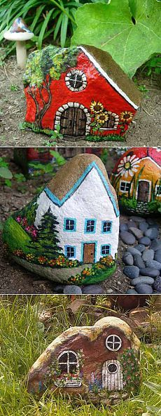 Поделки для сада: 10 домиков из камней