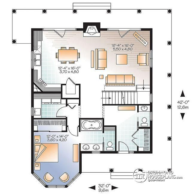W3506 V1   Lakefront Rustic Country cottage house plan  4 bedrooms  3 5  bathrooms  2 master suites  fireplace  pantry. 112 best master up house plans images on Pinterest
