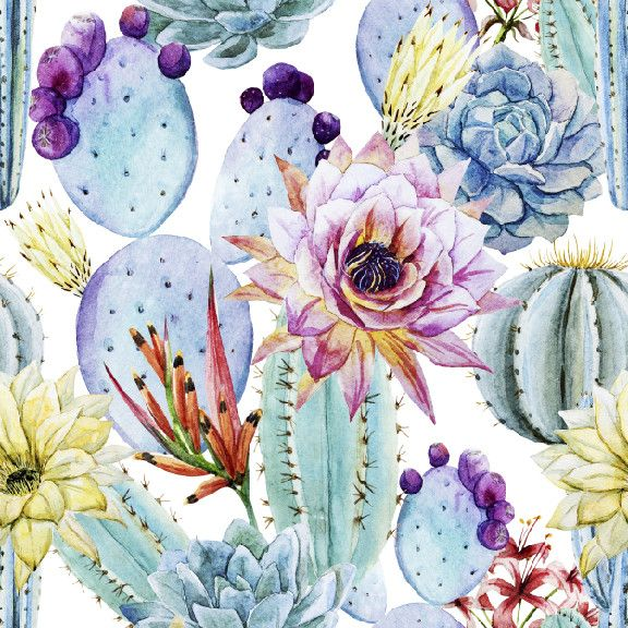 Watercolor Cactus | Removable Wallpaper | @wallsneedlove