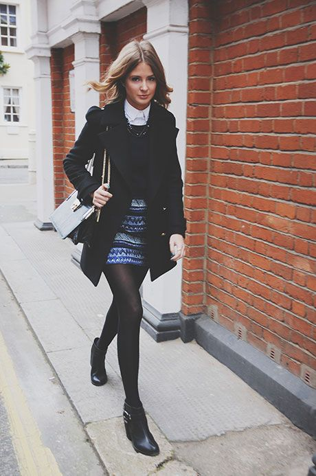 TIGHTS – RIVER ISLAND  SKIRT – ZARA  JUMPER – CUMPET  SHIRT – ZARA  COAT – ZARA  BAG – DUNE  BOOTS – SENSO  NECKLACE – KURT GEIGER