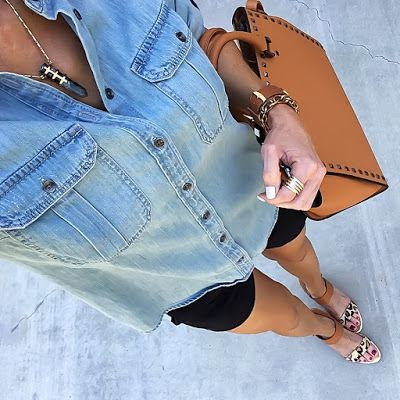 Denim Chambray Shirt, black shorts, leopard sandals, stella & Dot pendant   On the Daily EXPRESS   Instagram: @ontheDailyX