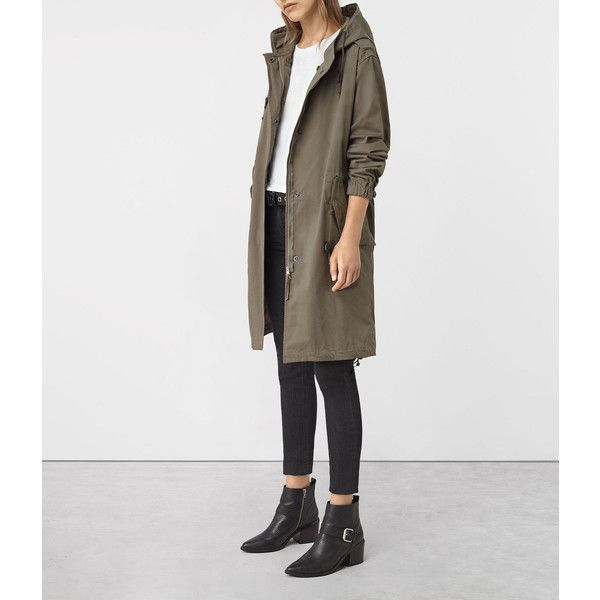 AllSaints Caden Parka ($468) ❤ liked on Polyvore featuring outerwear, coats, khaki green, allsaints, green coat, khaki parka, khaki green parka and khaki parka coat