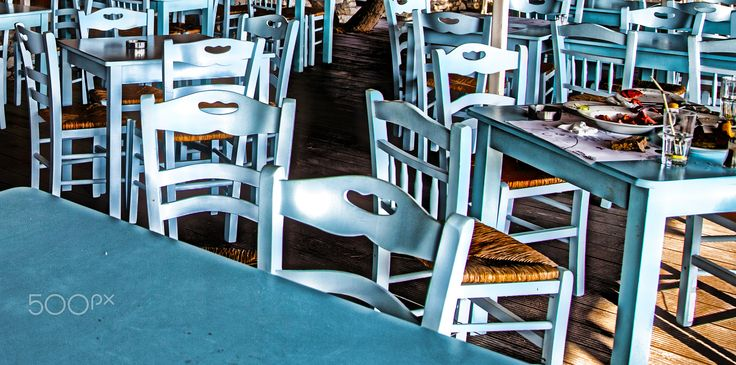 Blue Summer Tavern - Still Life Photography of an empty tavern located on the Island of Syros in Greece.