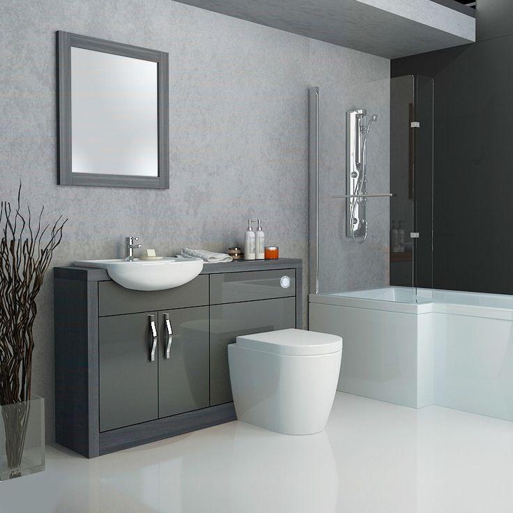 Grey gloss unit with p shaped bath