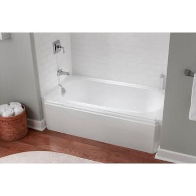 Memoirs 5 ft left drain alcove cast iron soaking tub in white for Deep alcove bathtubs