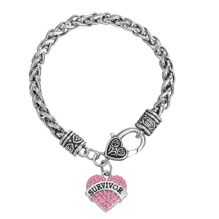European & American Breast Cancer Awareness Crystal Heart Survivor Bracelet Jewelry